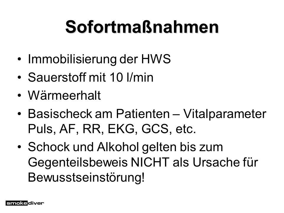 Sofortmaßnahmen Immobilisierung der HWS Sauerstoff mit 10 l/min