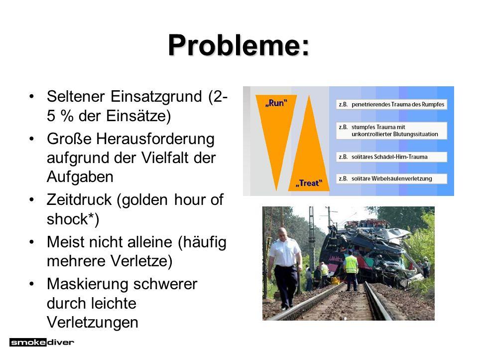 Probleme: Seltener Einsatzgrund (2-5 % der Einsätze)