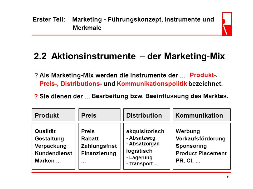 2.2 Aktionsinstrumente  der Marketing-Mix