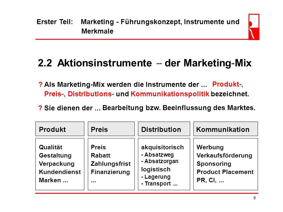 2.2 Aktionsinstrumente  der Marketing-Mix