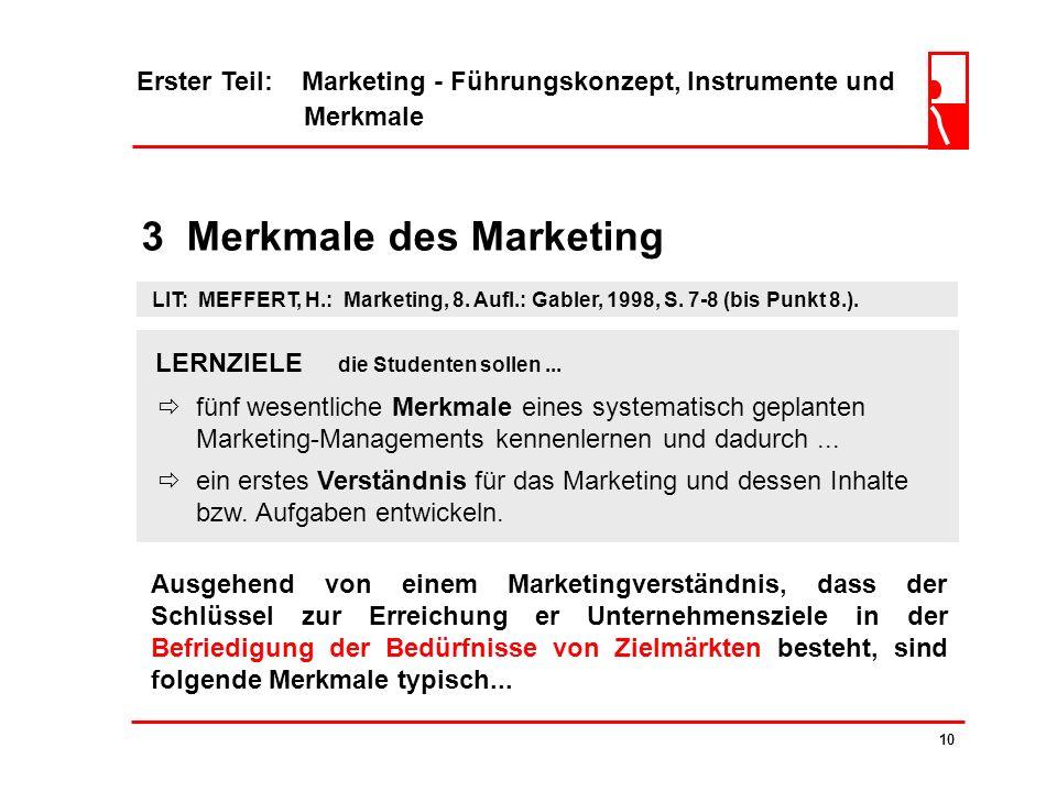 3 Merkmale des Marketing