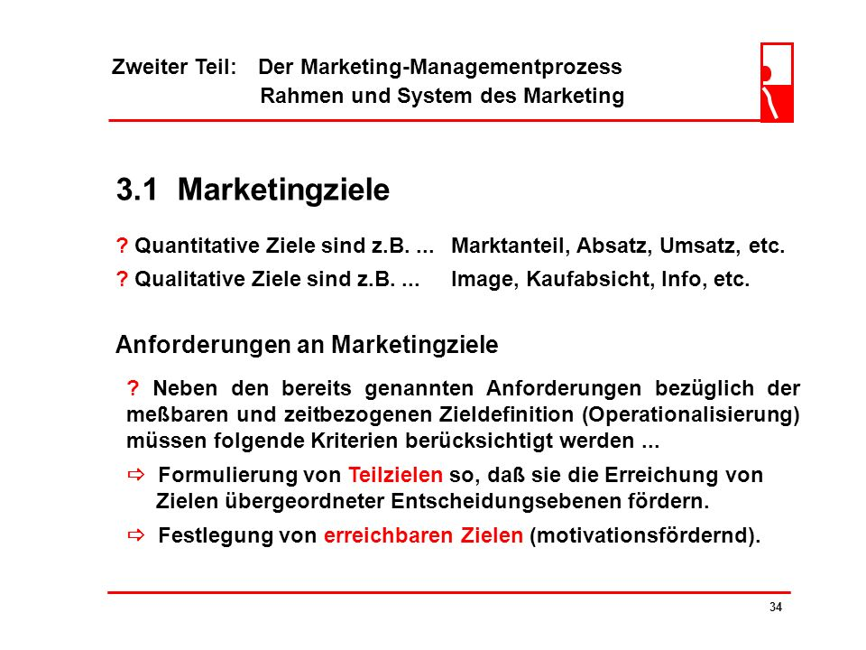 3.1 Marketingziele Anforderungen an Marketingziele