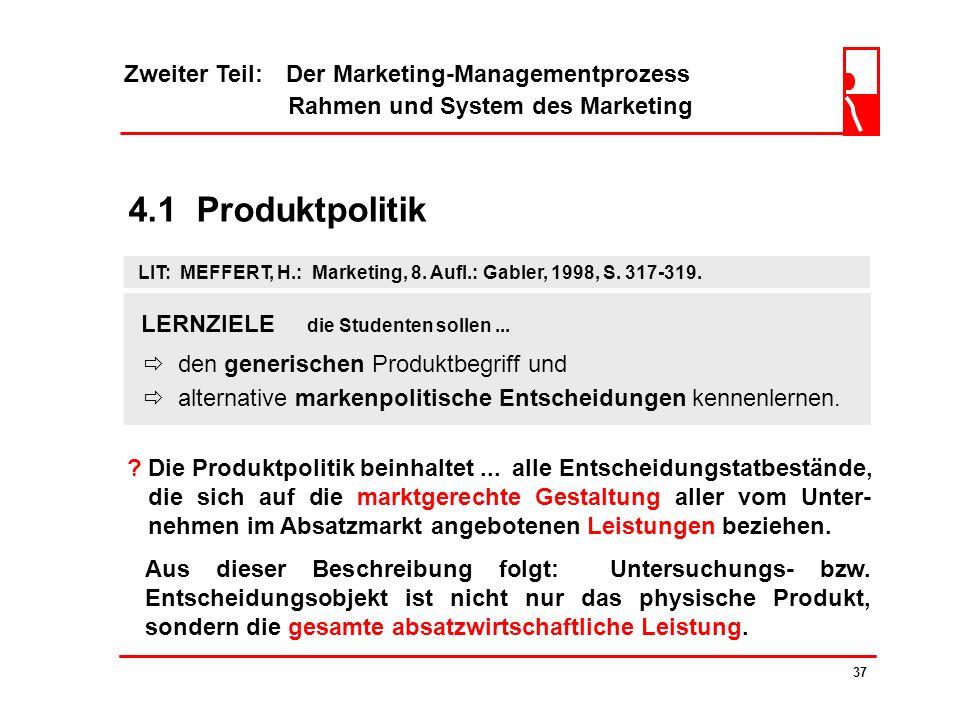 4.1 Produktpolitik Zweiter Teil: Der Marketing-Managementprozess