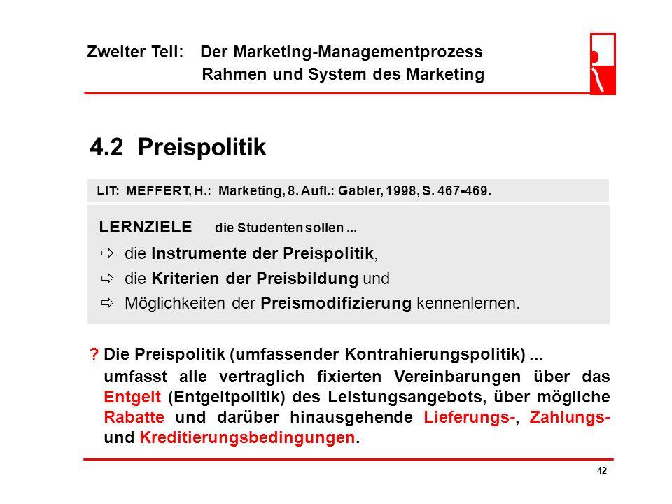 4.2 Preispolitik Zweiter Teil: Der Marketing-Managementprozess