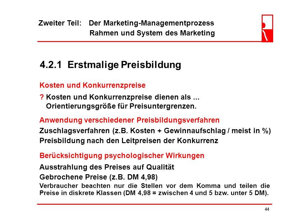 4.2.1 Erstmalige Preisbildung
