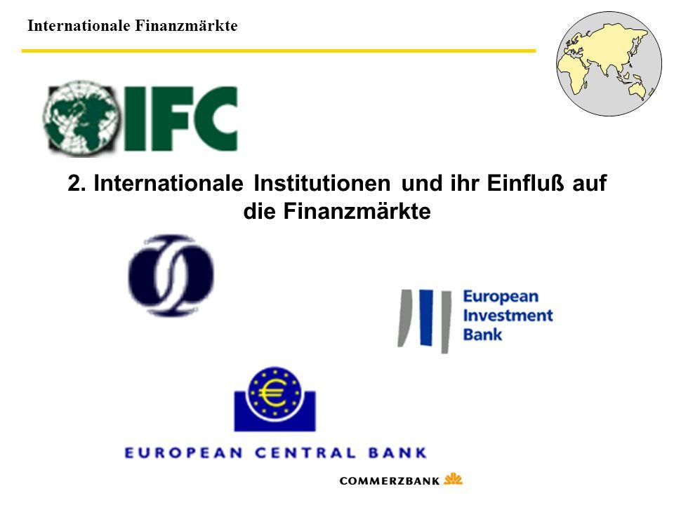 2. Internationale Institutionen und ihr Einfluß auf die Finanzmärkte