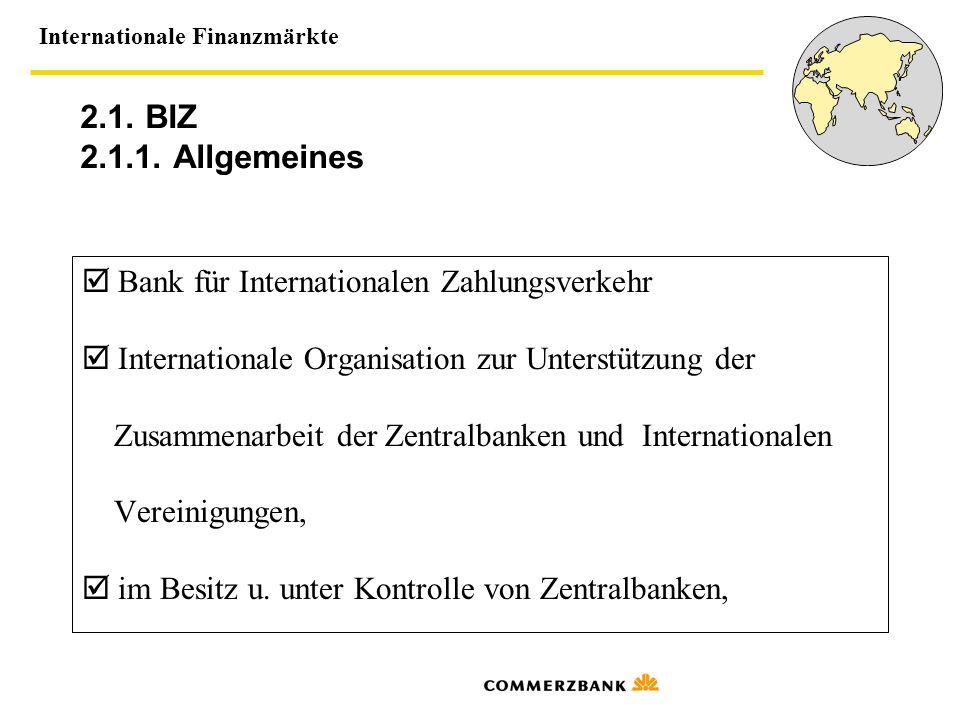 2.1. BIZ 2.1.1. Allgemeines  Bank für Internationalen Zahlungsverkehr