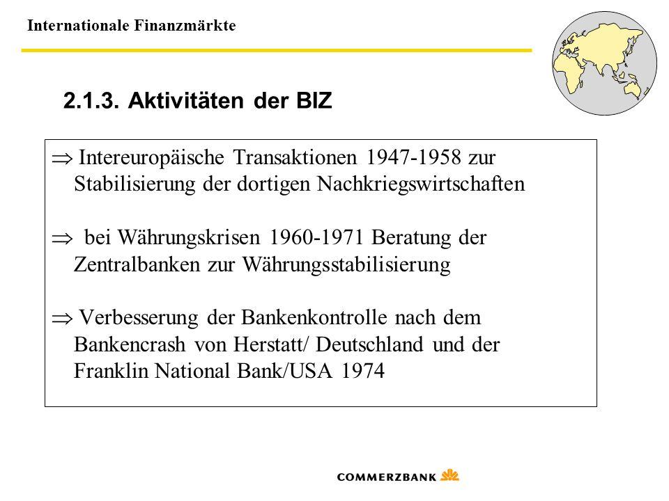 2.1.3. Aktivitäten der BIZ  Intereuropäische Transaktionen 1947-1958 zur. Stabilisierung der dortigen Nachkriegswirtschaften.