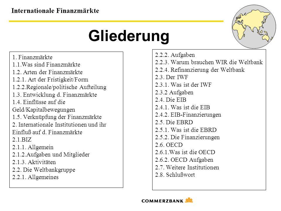 Gliederung 2.2.2. Aufgaben 1. Finanzmärkte