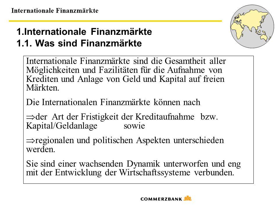 1.Internationale Finanzmärkte 1.1. Was sind Finanzmärkte