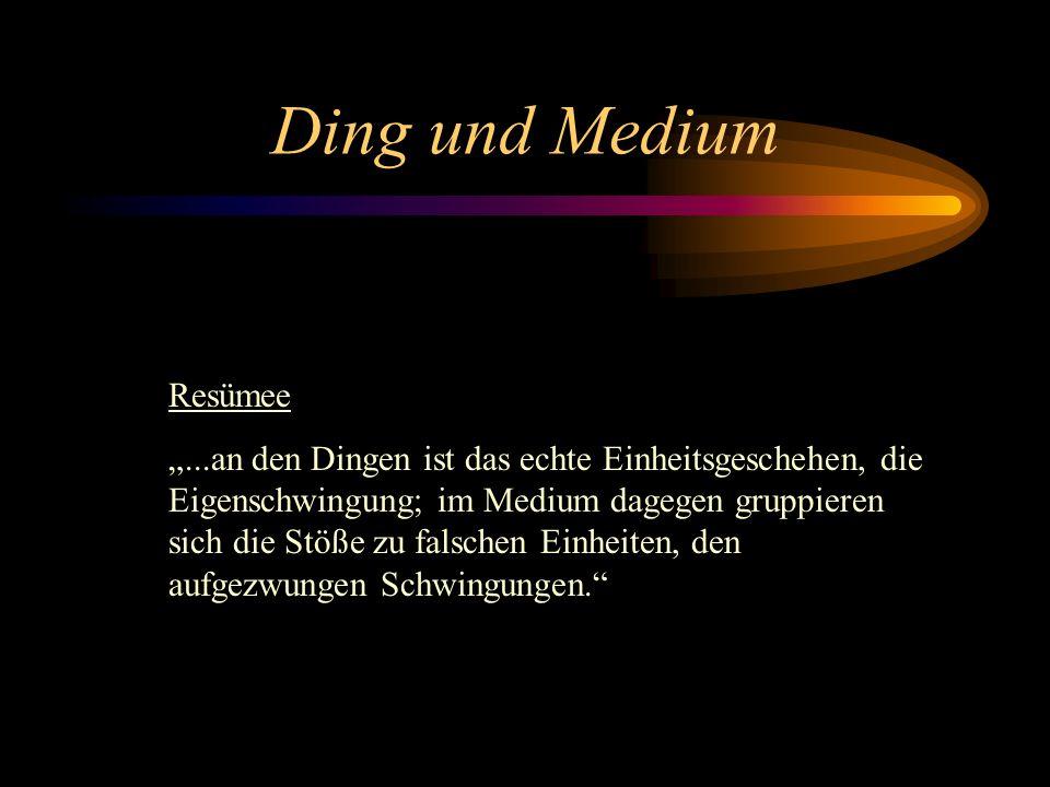 Ding und Medium Resümee