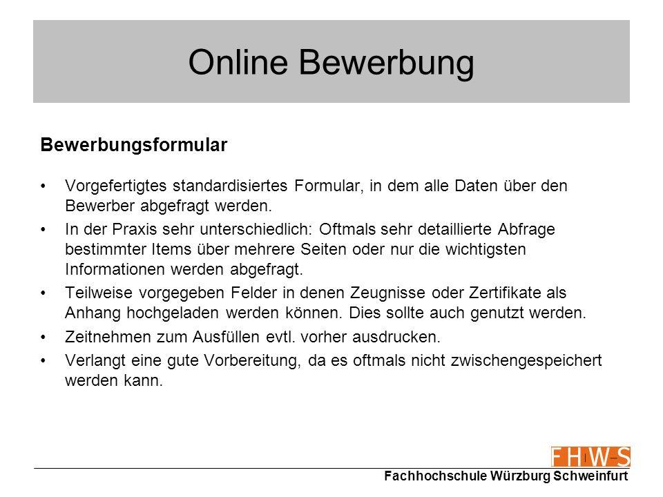 Online Bewerbung Bewerbungsformular