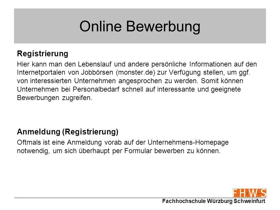 Online Bewerbung Registrierung Anmeldung (Registrierung)