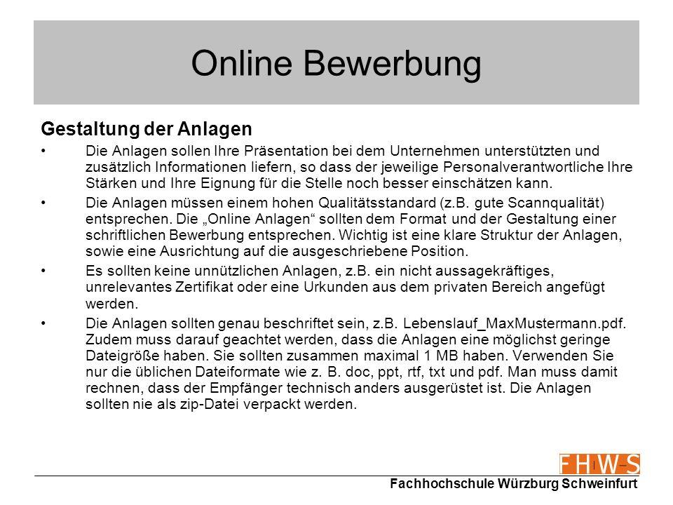 Online Bewerbung Gestaltung der Anlagen