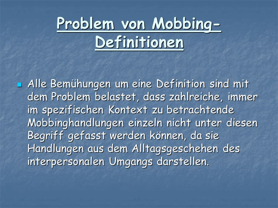 Problem von Mobbing-Definitionen