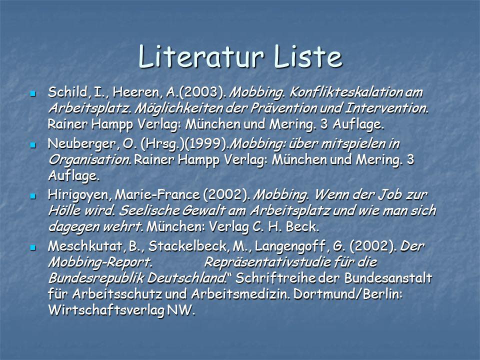Literatur Liste