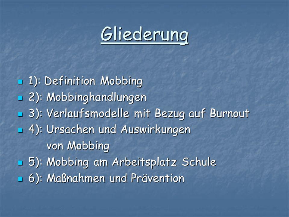 Gliederung 1): Definition Mobbing 2): Mobbinghandlungen