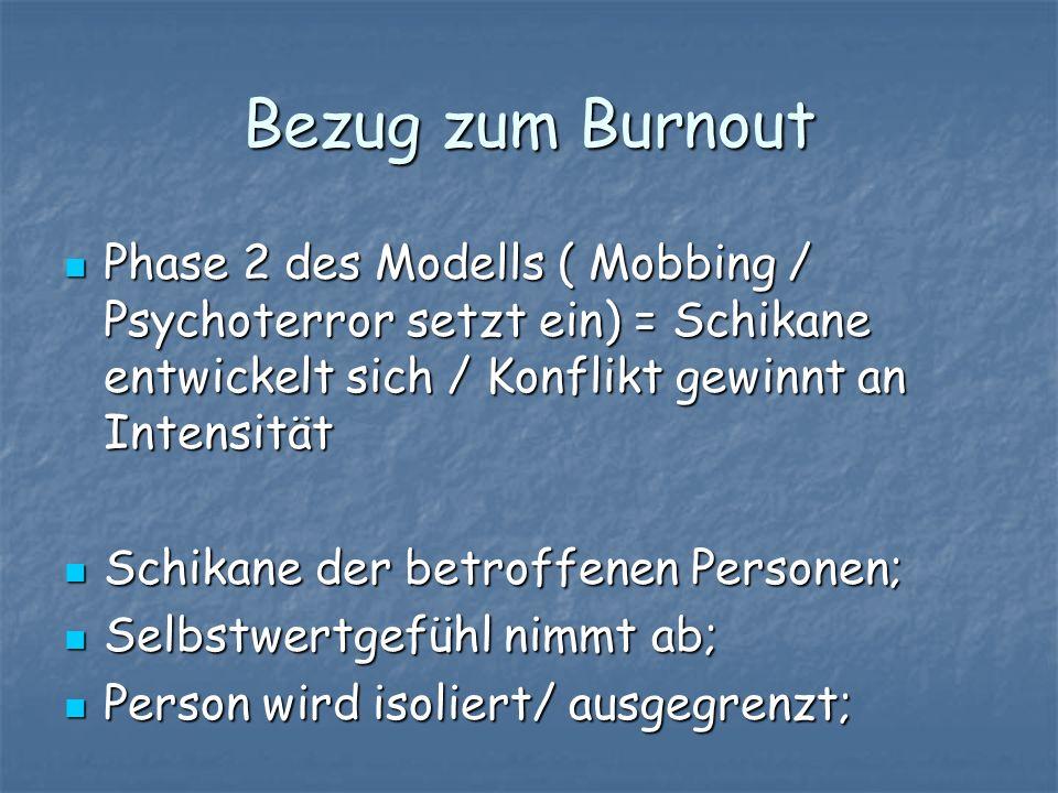 Bezug zum Burnout Phase 2 des Modells ( Mobbing / Psychoterror setzt ein) = Schikane entwickelt sich / Konflikt gewinnt an Intensität.