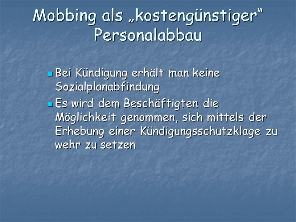 """Mobbing als """"kostengünstiger Personalabbau"""