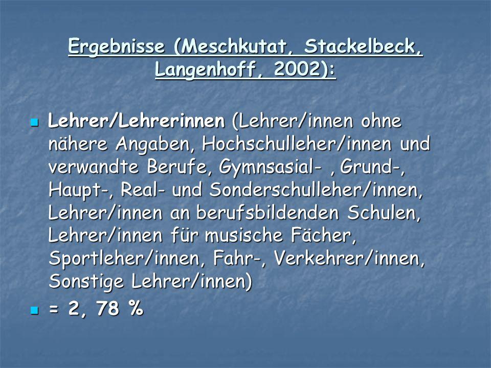 Ergebnisse (Meschkutat, Stackelbeck, Langenhoff, 2002):