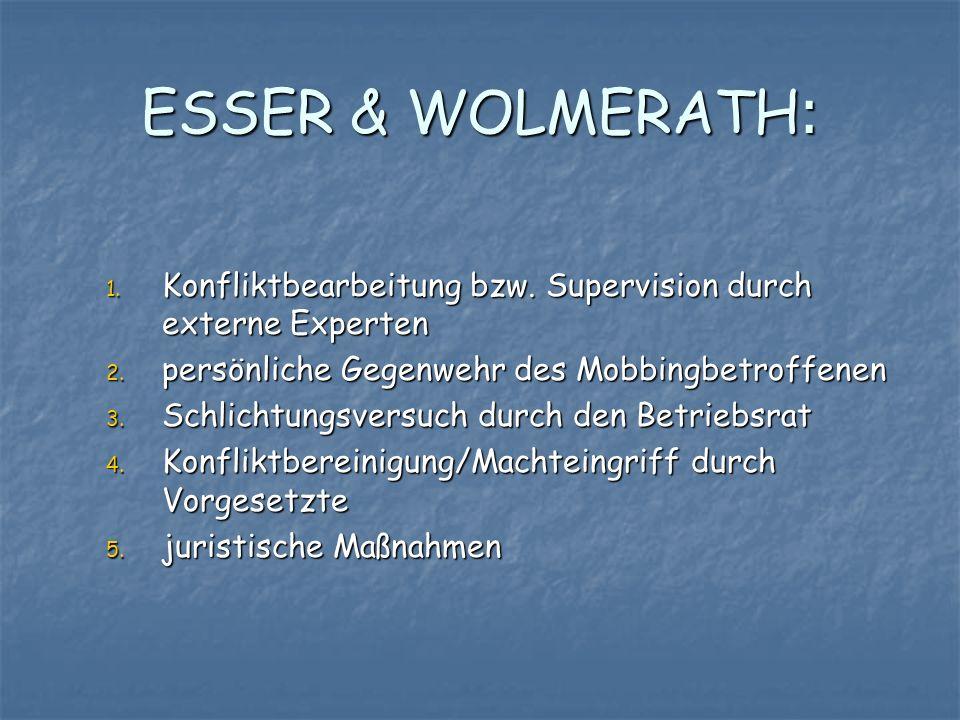 ESSER & WOLMERATH:Konfliktbearbeitung bzw. Supervision durch externe Experten. persönliche Gegenwehr des Mobbingbetroffenen.