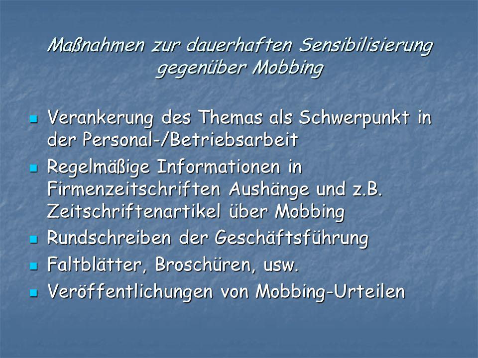 Maßnahmen zur dauerhaften Sensibilisierung gegenüber Mobbing