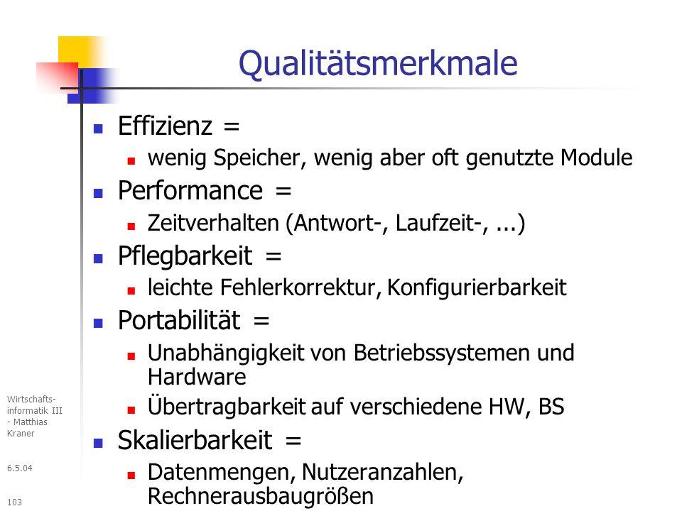 Qualitätsmerkmale Effizienz = Performance = Pflegbarkeit =