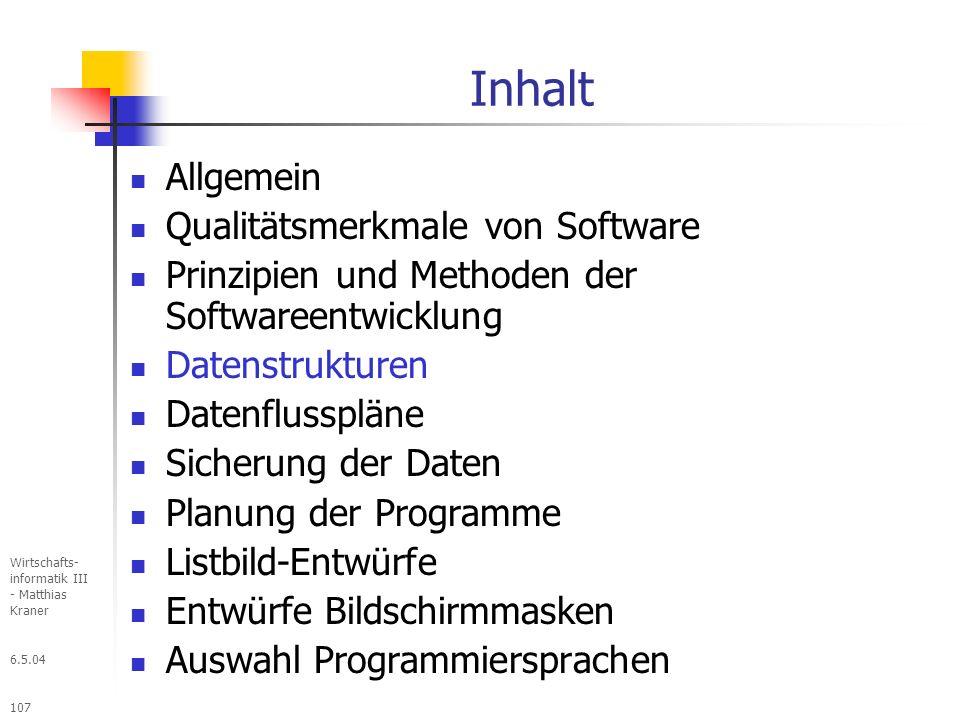 Inhalt Allgemein Qualitätsmerkmale von Software