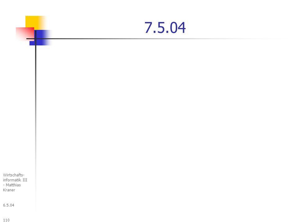 7.5.04 Wirtschafts- informatik III - Matthias Kraner 6.5.04