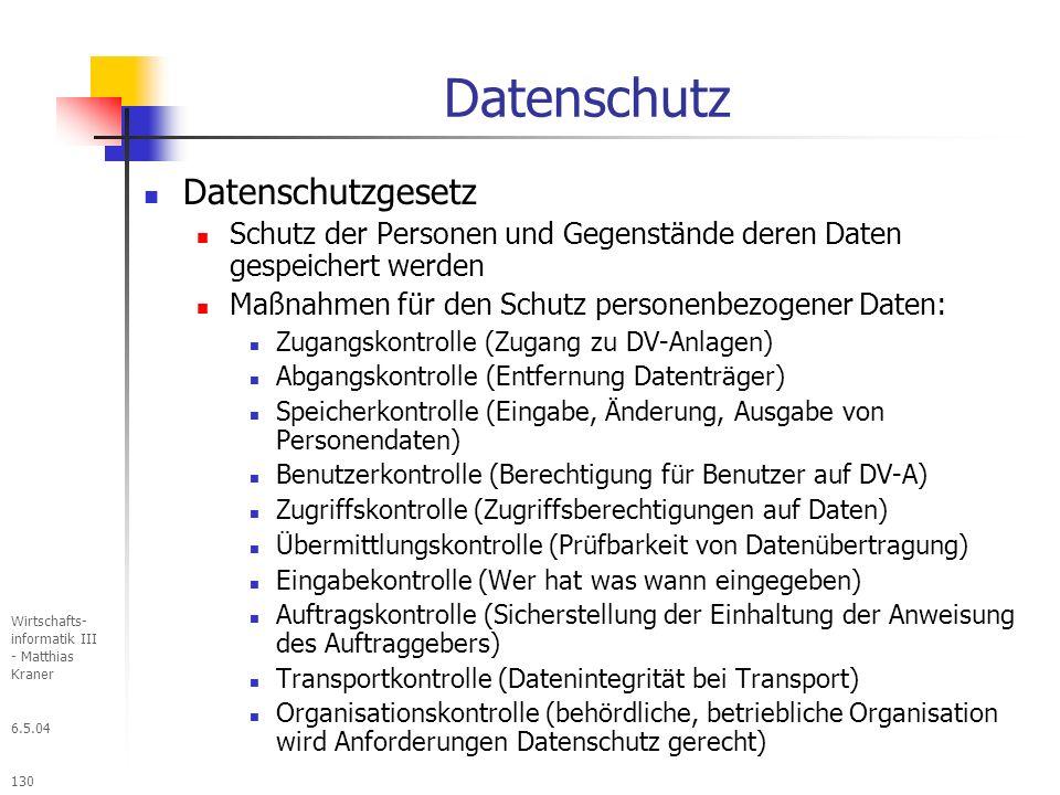 Datenschutz Datenschutzgesetz