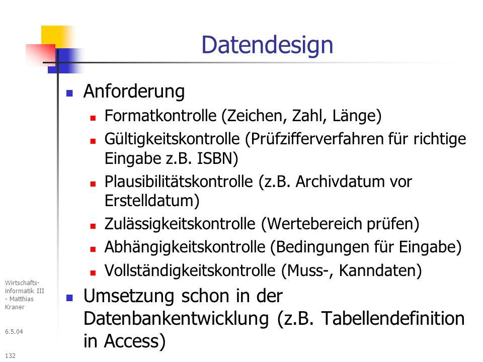 Datendesign Anforderung