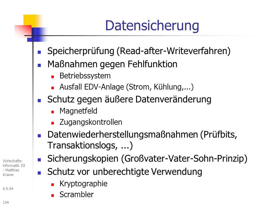 Datensicherung Speicherprüfung (Read-after-Writeverfahren)