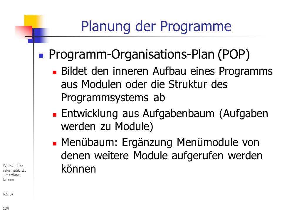 Planung der Programme Programm-Organisations-Plan (POP)