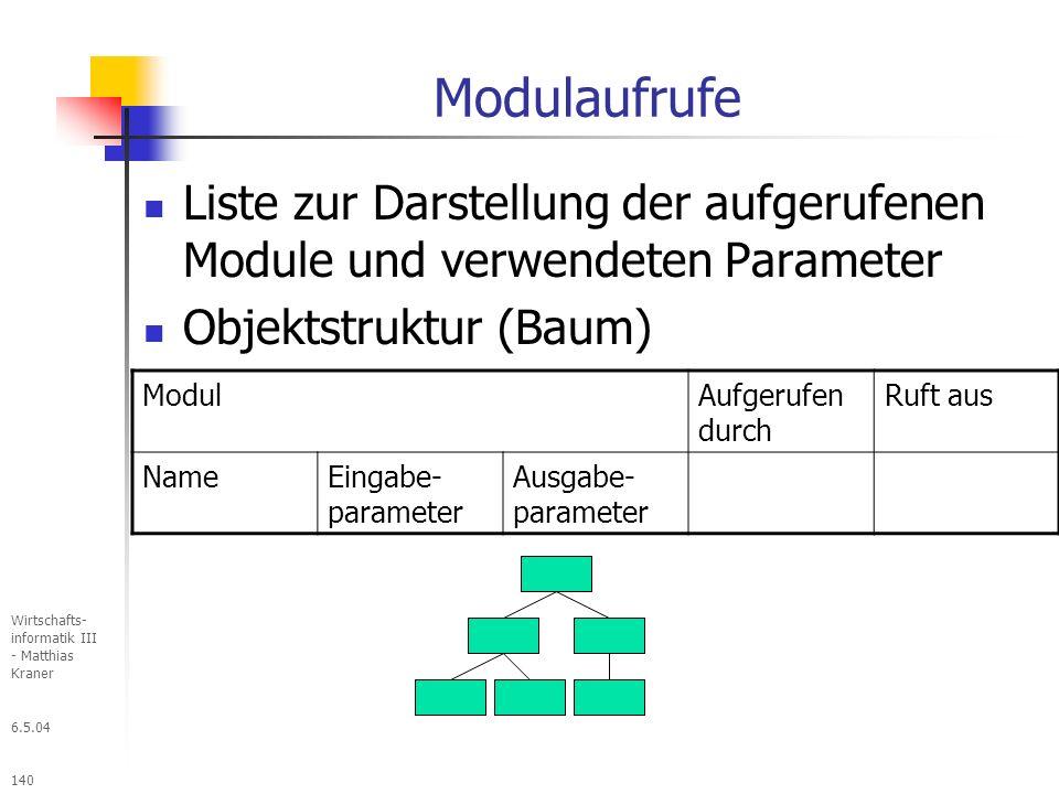Modulaufrufe Liste zur Darstellung der aufgerufenen Module und verwendeten Parameter. Objektstruktur (Baum)