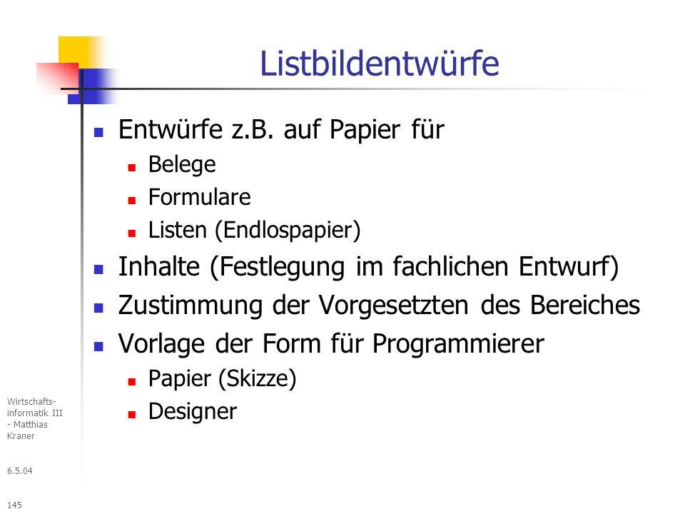 Listbildentwürfe Entwürfe z.B. auf Papier für