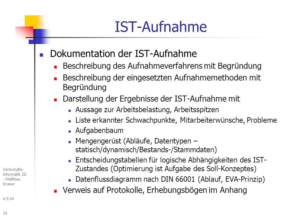 IST-Aufnahme Dokumentation der IST-Aufnahme