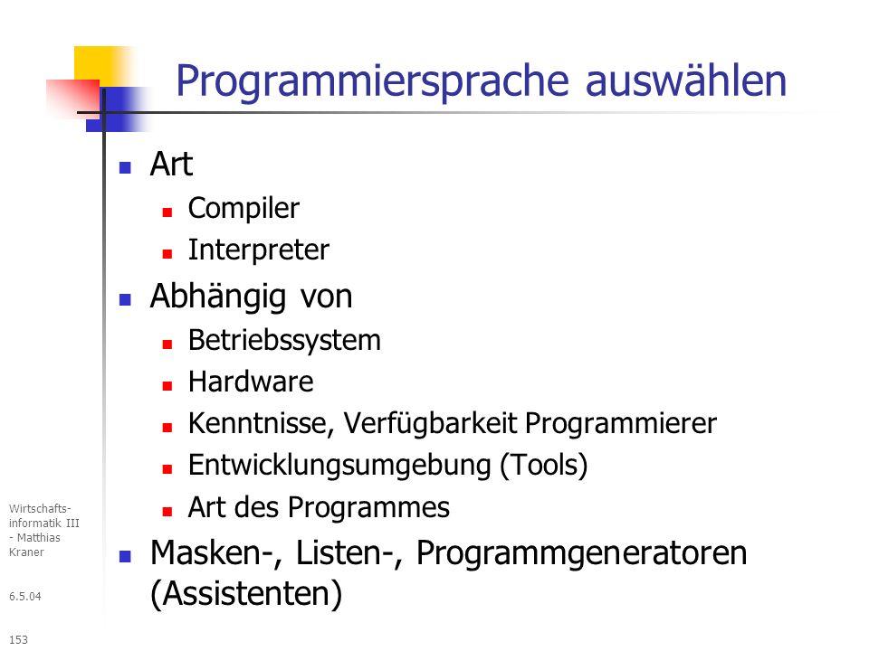 Programmiersprache auswählen