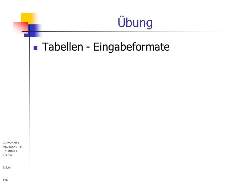 Übung Tabellen - Eingabeformate