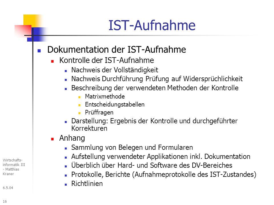 IST-Aufnahme Dokumentation der IST-Aufnahme Kontrolle der IST-Aufnahme