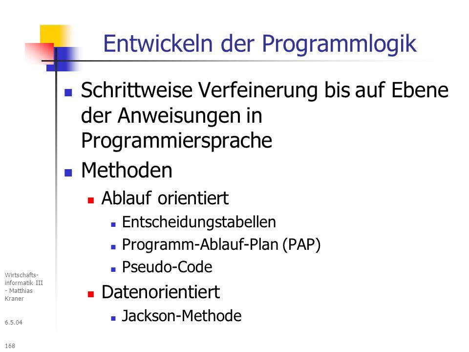 Entwickeln der Programmlogik