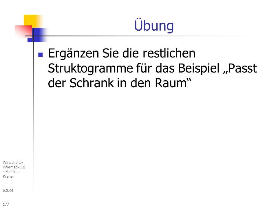 """Übung Ergänzen Sie die restlichen Struktogramme für das Beispiel """"Passt der Schrank in den Raum Wirtschafts- informatik III - Matthias Kraner."""