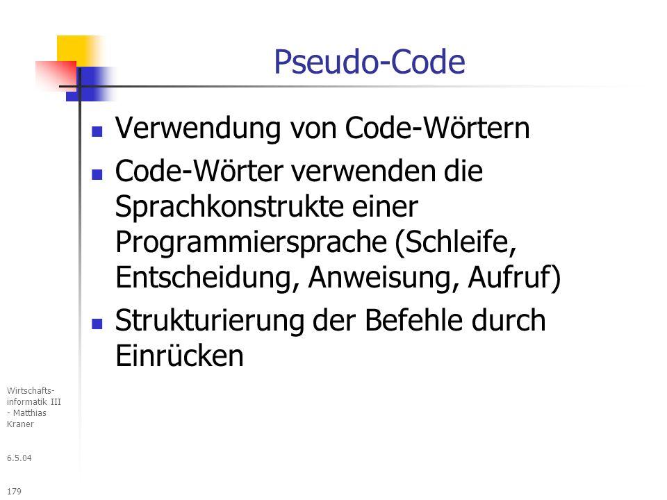 Pseudo-Code Verwendung von Code-Wörtern