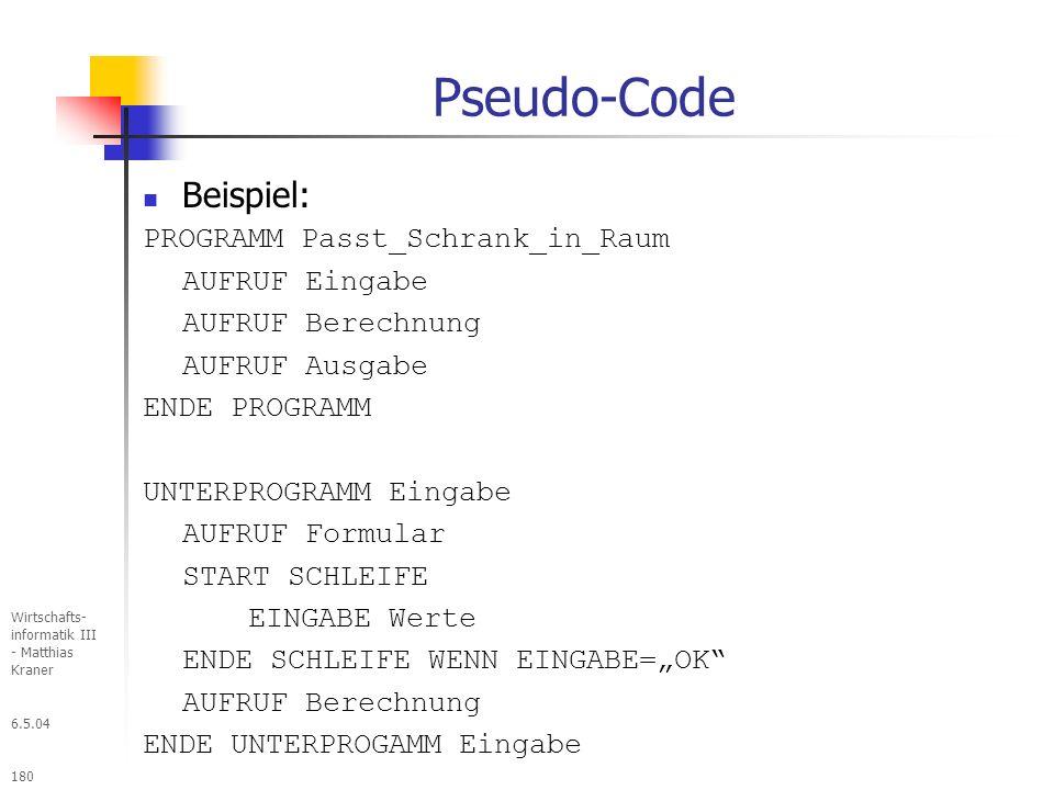 Pseudo-Code Beispiel: PROGRAMM Passt_Schrank_in_Raum AUFRUF Eingabe
