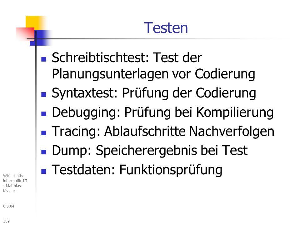 Testen Schreibtischtest: Test der Planungsunterlagen vor Codierung