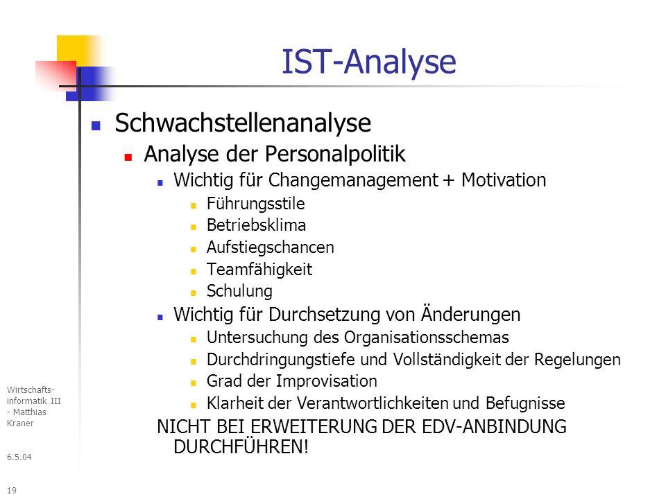 IST-Analyse Schwachstellenanalyse Analyse der Personalpolitik