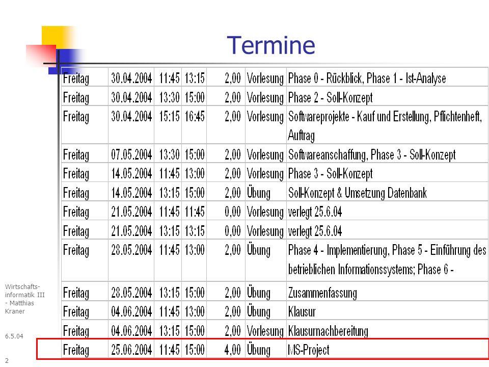 Termine &D 27.03.2017 Informatik - Kurs 3 - Matthias Kraner