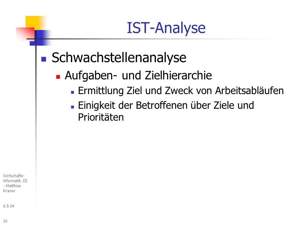 IST-Analyse Schwachstellenanalyse Aufgaben- und Zielhierarchie
