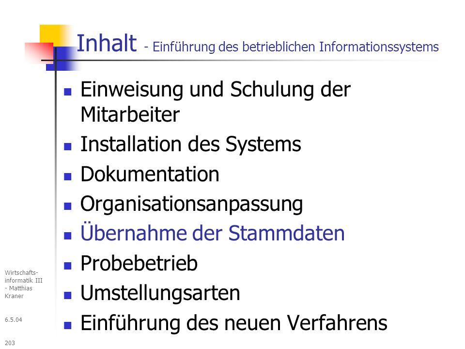Inhalt - Einführung des betrieblichen Informationssystems