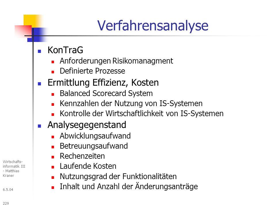 Verfahrensanalyse KonTraG Ermittlung Effizienz, Kosten