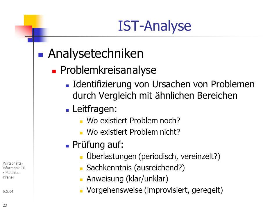 IST-Analyse Analysetechniken Problemkreisanalyse